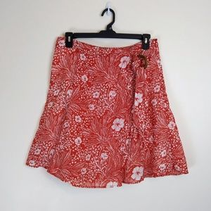 Ann Taylor A-Line Wrap Skirt Orange Print, 12